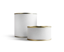 Two Blank Food Tin Cans Isolat...