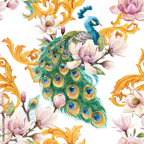 Obraz paw watercolor-peacock-pattern