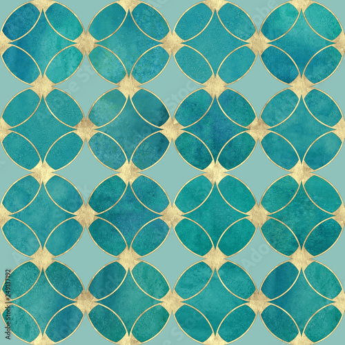 Tapety turkusowe  seamless-watercolour-teal-turquoise-gold-glitter-abstract-texture