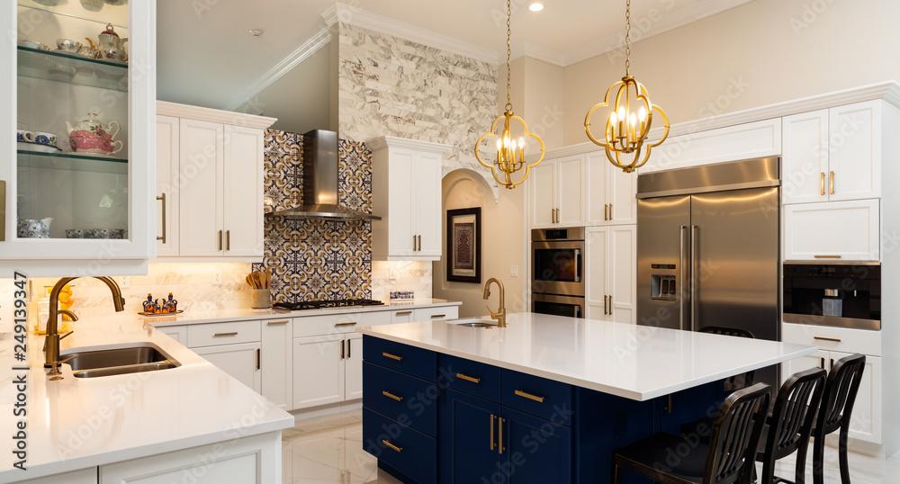Fototapety, obrazy: Modern White Kitchen in Estate Home