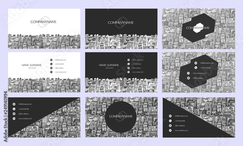 Fotografie, Obraz  Business cards design with hand drawn cityscape background.