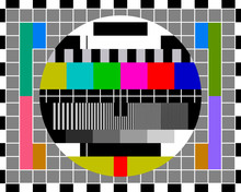 Test Card TV With Rainbow Colored Stripes And Geometric Signals.