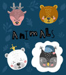 Cute cartoon little animals Childish print for nursery