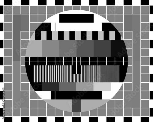 Fototapeta Test card TV with rainbow colored stripes and geometric signals. obraz na płótnie