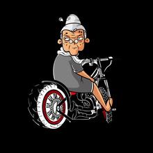 Grandma Motorcycle Ladybiker Black