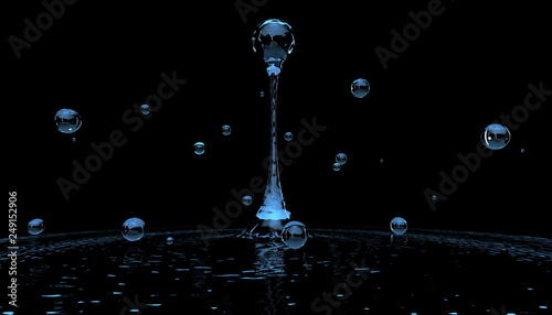 Water has the form of drops without gravity. 3D rendering. Fototapet