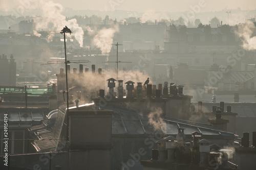 Fotografia, Obraz pollution ville énergie chauffage cheminée toit environnement consommation immeu