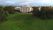 View of the Pavlovsk Palace, October day (aerial video). Saint Petersburg