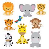 Fototapeta Fototapety na ścianę do pokoju dziecięcego - Jungle animals clip art