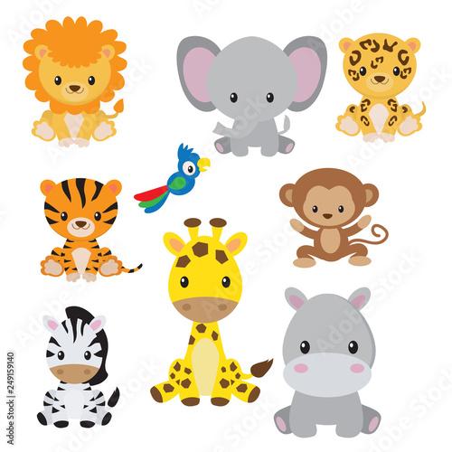 Billede på lærred Jungle animals clip art