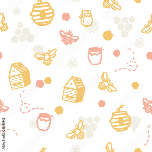 Cotton fabric Modern seamless honey bee pattern. Organic farming concept with lettering