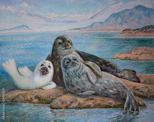 Poster Cappuccino A family of seals on stones by the blue sea is an oil painting on canvas.