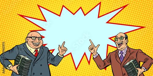 Fototapeta businessmen with cash, rich people. two men joyful obraz