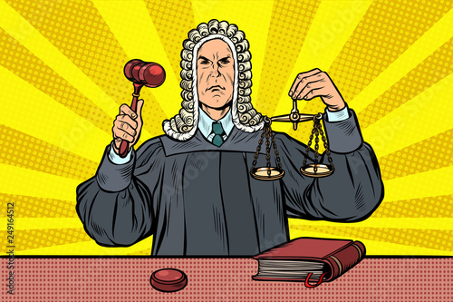 Fotomural judge with a hammer. scales of justice