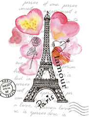 Fototapeta Miasta Eiffel Tower on the background of watercolor heart.