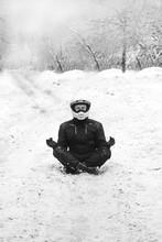 Rider Man Is Sitting On Snowy ...