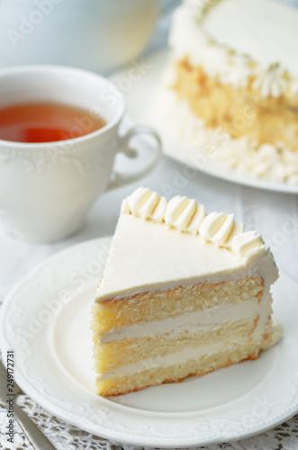 Sponge cake with butter cream Poster Mural XXL