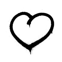 Sprayed Graffiti Heart In Blac...