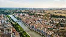 Aerial View Of Balaguer With The River Segre, La Noguera, (Province Of Lleida, Catalonia, Spain)