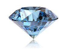 Big Fancy Cut Blue Diamond Side View Isolated On White Background