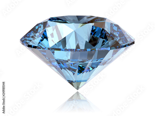 Photographie Big fancy cut blue diamond side view isolated on white background