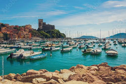 Vintage Barche al Castello di Lerici, Liguria, La Spezia, Italia