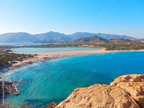 Vista Dalla Torre Di Porto Giunco Villasimius Isola Sardegna Con