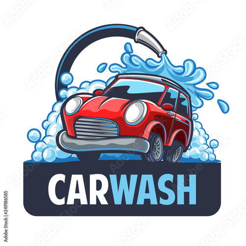 Cartoon voitures CAR WASH LOGO
