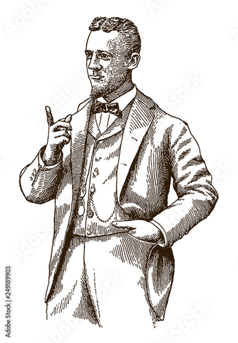 Foto Historical man wearing a bow tie and raising his index finger