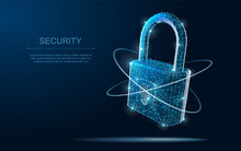 Security Lock. Polygonal Wireframe Mesh Looks Like Constellation On Dark Blue Night Sky With Dots And Stars.