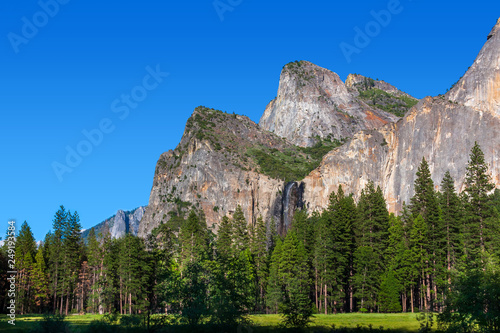 Photo  Yosemite Valley meadow and mountains with clear blue sky