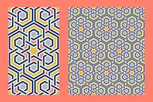 Traditional Arabic Islam Geometric Art. Single Floor Tile And Arabesque Seamless Pattern.