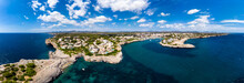 Spain, Baleares, Mallorca, Porto Cristo, Cala Manacor, Coast With Villas And Natural Harbor