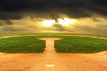 Baseball Field Looking Out To An Endless Curved Horizon