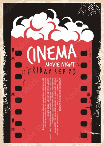 Cinema Movie Poster With Film Strip And Pop Corn Night Flyer Template Retro Ad Concept On Old Paper Textured Background