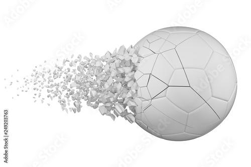 Fotografie, Obraz  Shattering soccer ball 3D realistic raster illustration