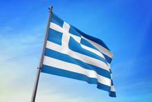 Greece Flag Waving On The Blue Sky 3D Illustration