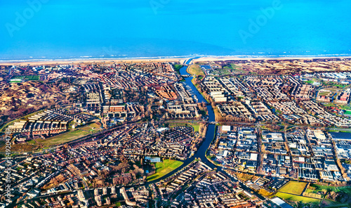Garden Poster Northern Europe Aerial view of Katwijk town in the Netherlands