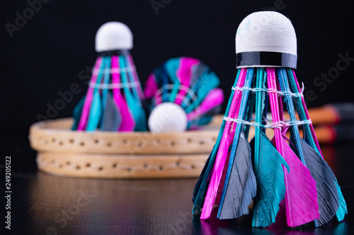 Colorful feathers in the badminton shuttlecock. Team play set. Canvas Print
