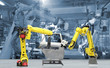 canvas print picture -  automate wireless Robot arm in smart factory background. Mixed media
