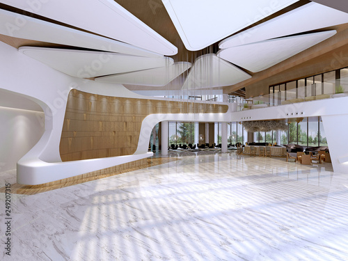 Fotografia 3d render hotel reception entrance lobby