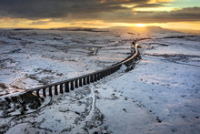 Winter Sunrise Over Ribblehead Viaduct, North Yorkshire