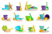 Set Of Sand Piles With Different Plastic Toys On White Background. Beach Accessories
