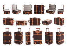 Set Of Vintage Suitcase For Travelling On White Background
