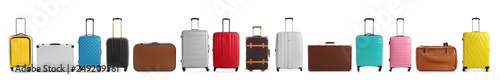 Foto Set of different suitcases for travelling on white background
