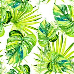 FototapetaTropical Hawaii leaves a palm tree in watercolor style. Basis for design