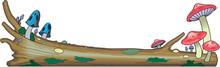 Mushrooms On Log Border Vector Illustration