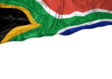 National Flag Of South Africa Hoisted Outdoors With White Background. South Africa Day Celebration