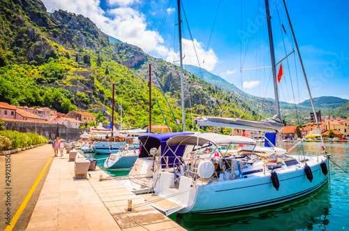 Canvas Prints Ship Port in old town Kotor, Montenegro.