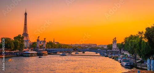 Printed kitchen splashbacks Eiffel Tower Sunset view of Eiffel Tower, Alexander III Bridge and river Seine in Paris, France.